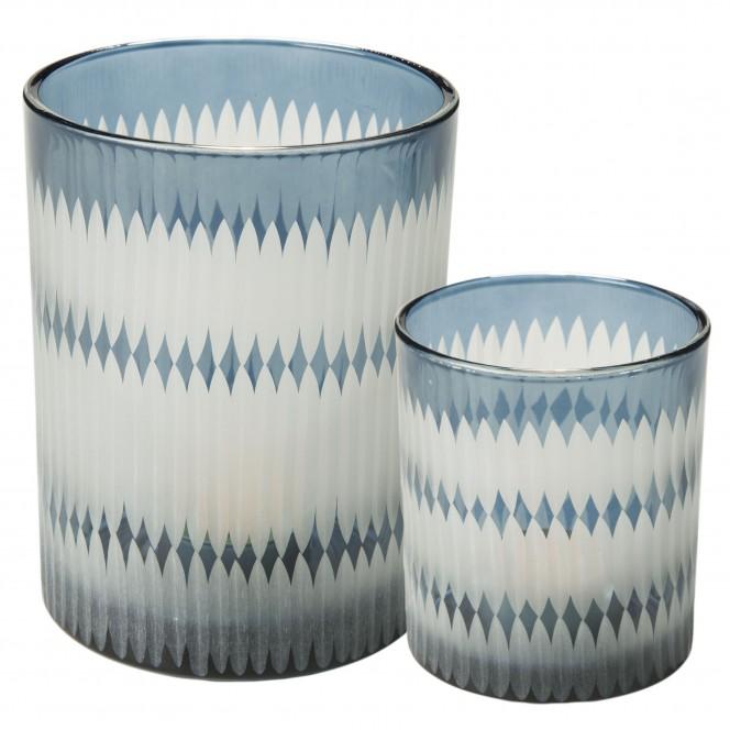 Merlin-Teelichthalter-blau-Grau-Serie-per