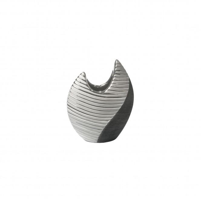 Macau-DekoVase-Silber-SchwarzGrau-7x16x20,5-per
