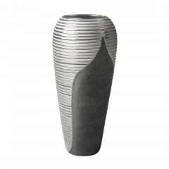 Macau-DekoVase-Silber-SchwarzGrau-16x16x39,2-per