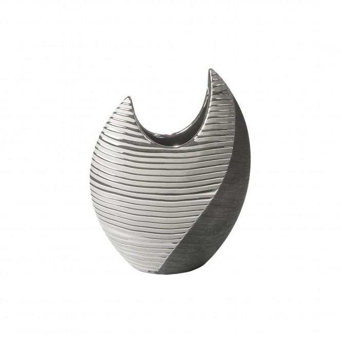 Macau-DekoVase-Silber-SchwarzGrau-11x24x30-per