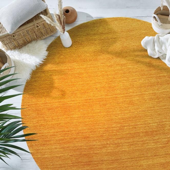 Barwala-Gabbehteppich-gelb-Gold-200rund-mil