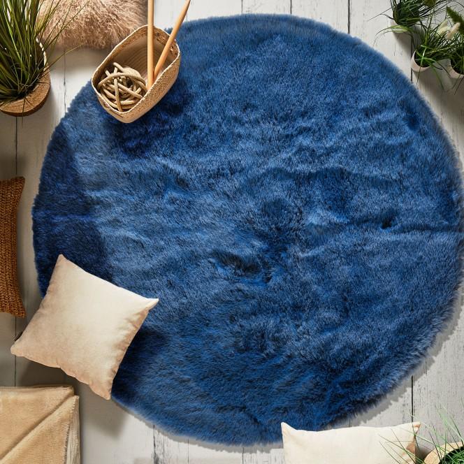 Fiaera-Kunstfellteppich-blau-midnightblue-rund120-mil