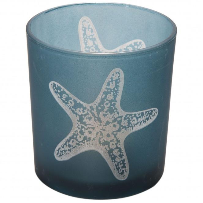 Seesternglas-Teelichthalter-Blau-Dunkelblau-7x8-per1