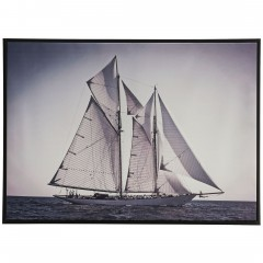 Zweimaster-Leinwandbild-Grau-50x70-pla