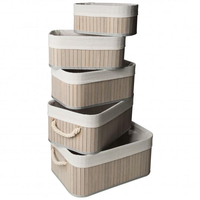 BambusBoxBilli-Korb-Hellgrau-Set-Stapel-per