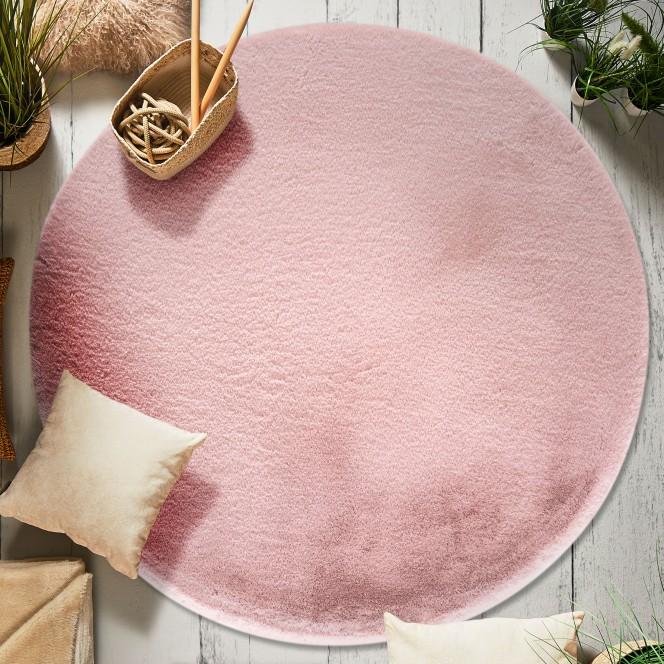 Ranua-Kunstfellteppich-rosa-rose-rund100-mil