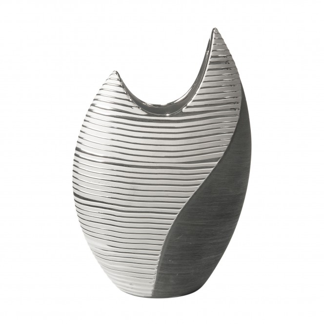 Macau-DekoVase-Silber-SchwarzGrau-13x27x41-per