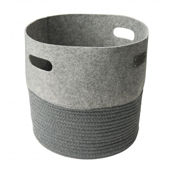Filzkorbrund-Korb-Grau-29x29x32-per