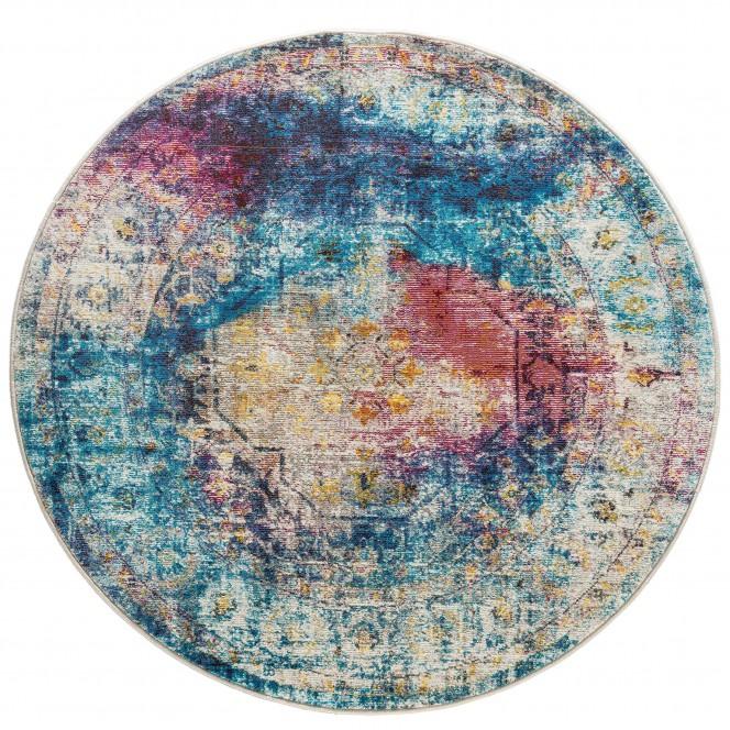 Colourii-VintageTeppich-mehrfarbig-Multicolor-133rund-pla