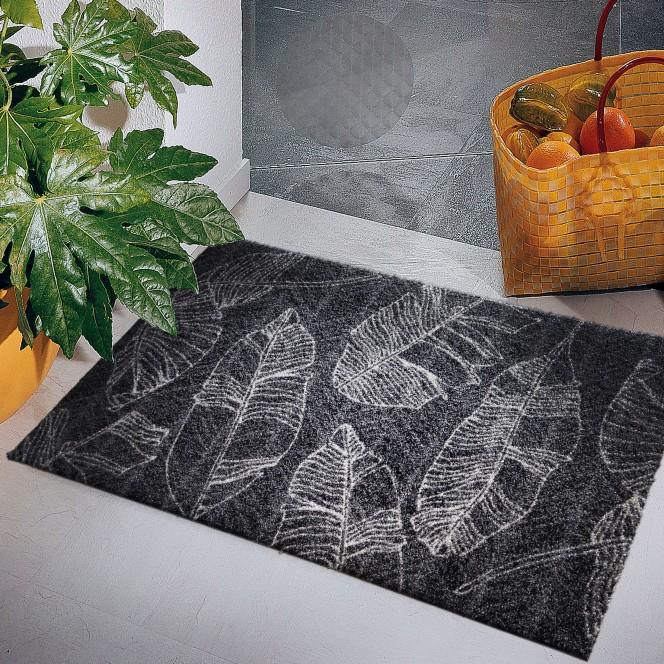 Fashion-Fußmatte-Dunkelgrau-LeavesLineAnthrazit-50x80-mil