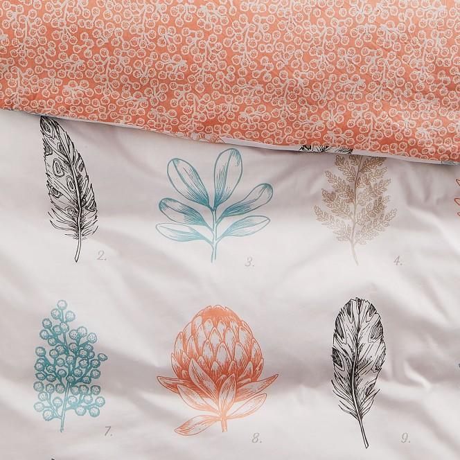 BotanicalLeaves-Bettwaesche-mehrfarbig-Apricot-135x200-lup